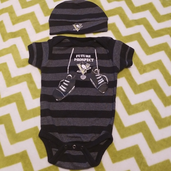 One-pieces Fast Deliver Nhl Pittsburgh Penguins Bodysuit Romper Jumpsuit Outfits 3 Piece Set Newborn